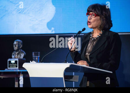 Berlin, Berlin, Germany. 28th Jan, 2019. CNN journalist Christiane Amanpour delivers a speech during an event in which German Chancellor Angela Merkel was awarded the J. William Fulbright Prize for International Understanding in Berlin, Germany, January 28 2019. The Prize recognizes and rewards outstanding contributions toward bringing peoples, cultures, or nations to greater understanding of others. Credit: Omer Messinger/ZUMA Wire/Alamy Live News - Stock Photo