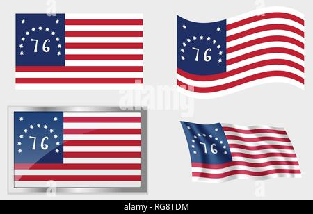 Historic Flag of the United States 13 Stars - Stock Photo