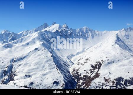 French Alps winter snow - Valloire ski resort in Europe. - Stock Photo