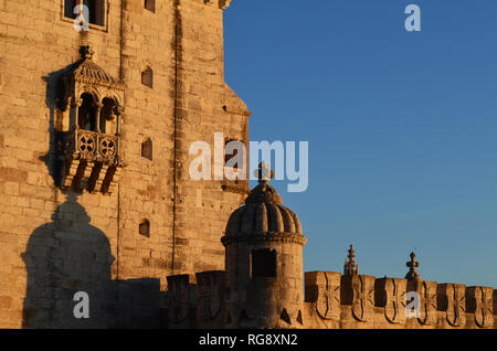 16th century Belem tower, one of the top historical monuments in Lisbon (Portugal), at sunset - Stock Photo