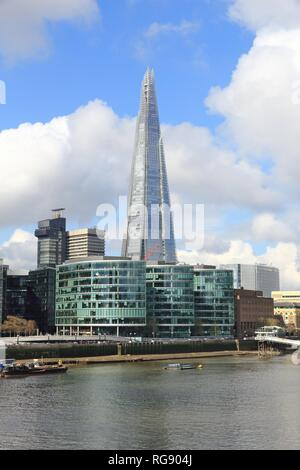 LONDON, UK - APRIL 23, 2016: Shard skyscraper in London, UK. The 309m tall building is the tallest in the European Union. - Stock Photo