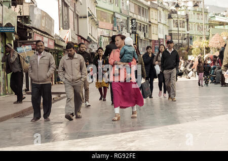 MG Marg Gangtok Sikkim India December, 26, 2018: People Taking A Walk On christmas holiday in the busy MG Marg street. Selective Focus. - Stock Photo