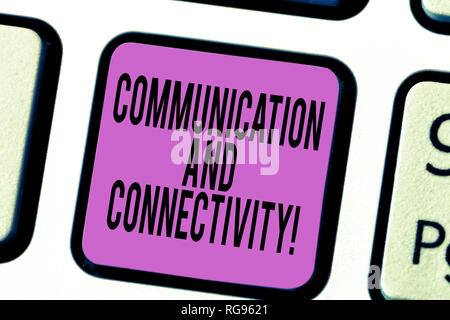 Text sign showing Communication And Connectivity. Conceptual photo social connections through network systems Keyboard key Intention to create compute - Stock Photo