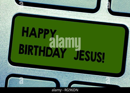 Text sign showing Happy Birthday Jesus. Conceptual photo Celebrating the birth of the holy God Christmas Day Keyboard key Intention to create computer - Stock Photo
