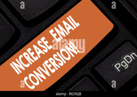 Handwriting text Increase Email Conversion. Concept meaning Action taking place on your landing page Keyboard key Intention to create computer message - Stock Photo