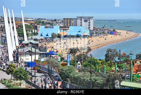 Southend on sea holiday seaside resort looking down view from above at waterfront beach & fairground promenade Thames Estuary Essex coast England UK - Stock Photo