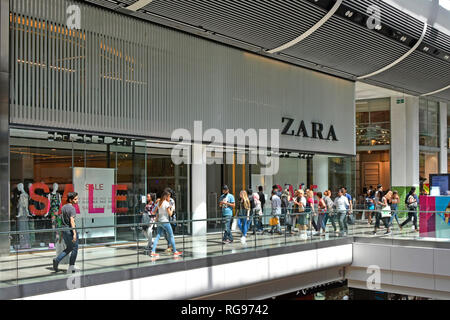 Zara fast fashion shop front window retail store clothing business sale sign Westfield shopping centre mall Stratford Newham East London England UK - Stock Photo