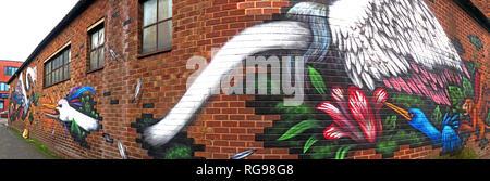 Emerica Factory Works, Bird Art, Cross Keys St, Northern Quarter, Manchester, City Centre, North West England, UK, M4 5ET - Stock Photo