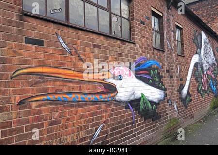 Emerica Factory Works, Bird Art, Cross Keys St, Northern Quarter, Manchester, City Centre, North West England, UK, M4 5ET - Stock Photo
