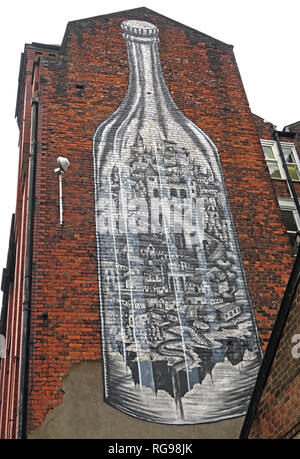 Esher Art bottle, Cross Keys St, Manchester NQ4, North West England, UK, M4 5ET - Stock Photo