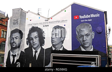 YouTube Music Get The App Advert, on gable end of building, Shude Hill, Manchester City Centre, North West England, UK, M4 2AF - Stock Photo