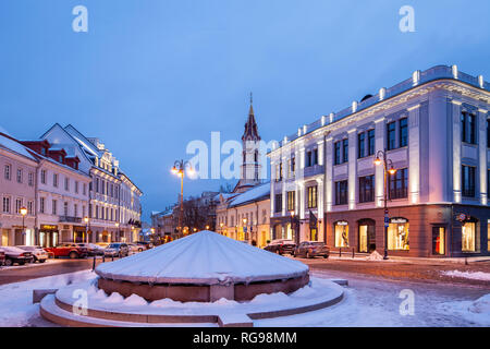 Dawn at the town hall square in Vilnius old town, Lithuania. - Stock Photo