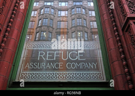 Window at Refuge assurance Company Head Office Building, Oxford Road, Manchester, North West England, UK, - Stock Photo