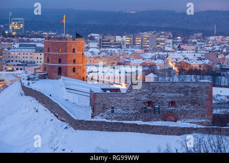 Winter dawn at Gediminas Tower in Vilnius, Lithuania. - Stock Photo