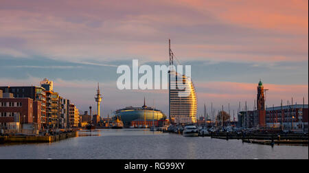 The North German port city of Bremerhaven featuring the Atlantic Sail Hotel. - Stock Photo