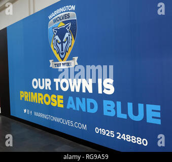 Warrington, Our Town Is Primrose and Blue, Golden Square Shopping Centre, Cheshire, North West England, UK - Stock Photo