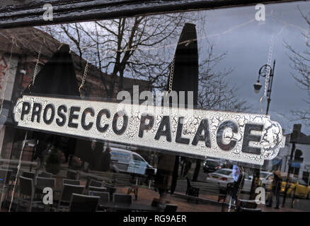 Prosecco Palace Sign in a bar window, Mulberry Tree, Stockton Heath, Warrington, Cheshire, North West England, UK, WA4 2AF - Stock Photo