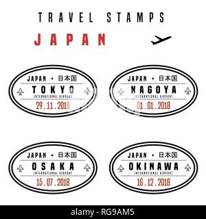 Travel vector - passport stamps set (fictitious stamps). Japan destinations: Tokyo, Nagoya, Osaka and Okinawa. - Stock Photo
