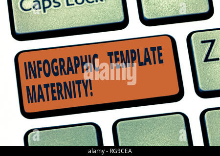 Handwriting text Infographic Template Maternity. Concept meaning Motherhood elements, material and guidelines Keyboard key Intention to create compute - Stock Photo