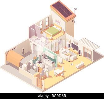 Vector isometric house cross-section - Stock Photo