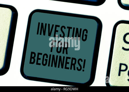 Handwriting text writing Investing For Beginners. Concept meaning outlay of money usually for income or profit Keyboard key Intention to create comput - Stock Photo