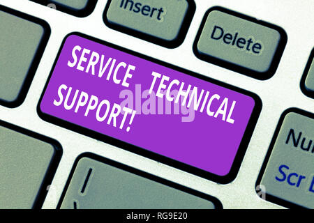 Word writing text Service Technical Support. Business concept for services that entities provide to users of product Keyboard key Intention to create  - Stock Photo
