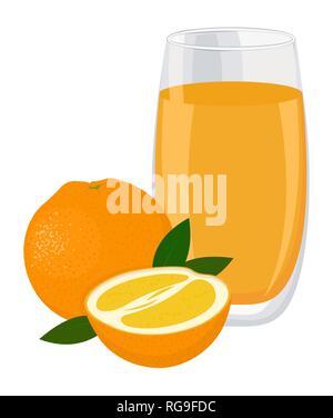 Orange drink. Glass of orange juice and slices of orange fruit. Vector illustration isolated on white background - Stock Photo
