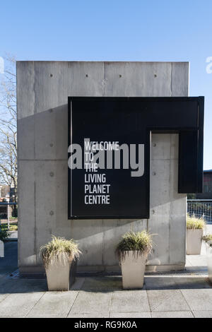 The Living Planet Centre, headquarters of the World Wildlife Fund (WWF) in Woking, Surrey, UK. Signage outside the building. - Stock Photo