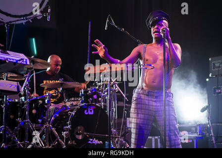 Angelo Moore singer of the alternative rock band Fishbone performing live at Kesselhaus, Berlin - Germany. - Stock Photo
