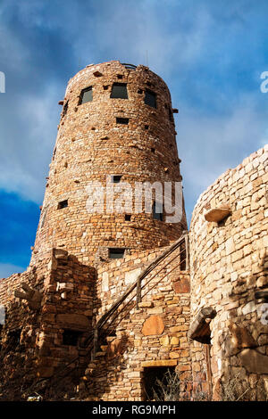 The Desert View Tower perched on the south rim overlooking the Grand Canyon.  Arizona. - Stock Photo