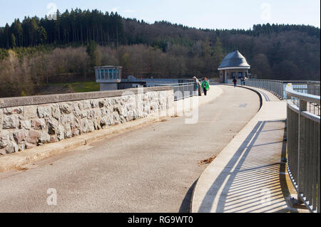 Dam of the Lister Reservoir, Olpe, Germany, Europe - Stock Photo