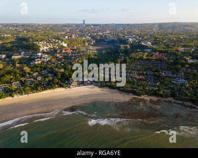 Indonesia, Bali, Aerial view of Jimbaran beach, GWK park in the background - Stock Photo