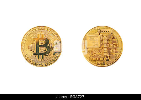 A set of bitcoin coins from the front and back side is isolated on a white background. Cryptocurrency - Stock Photo