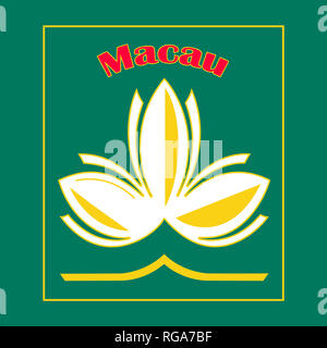 Lotus flower and red Macau inscription. Idea for the fridge souvenir magnet, stamp or sticker label - Stock Photo