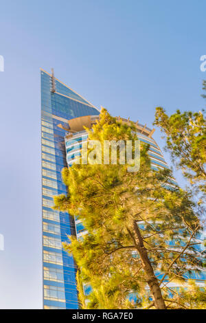 Contemporary style telecommunications tower building located in Montevideo, the tallest skyscraper building in Uruguay. - Stock Photo