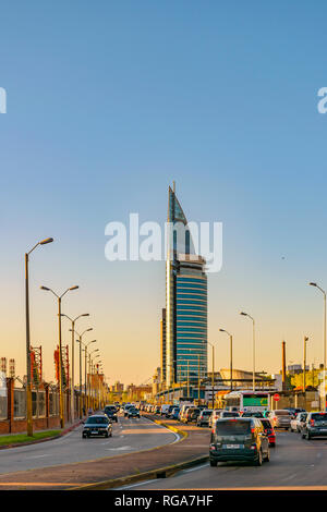 MONTEVIDEO, URUGUAY, OCTOBER - 2018 - Contemporary style telecommunications tower building located in Montevideo, the tallest skyscraper building in U - Stock Photo