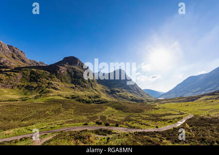 Great Britain, Scotland, Scottish Highlands, Glencoe, Glen Coe, The Pass of Glen Coe, Mountain massif Bidean Nam Bian - Stock Photo