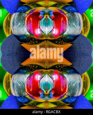 Colorful bright symmetrical abstract artistic image made from round /curved wooden,glass,metal elements - Stock Photo