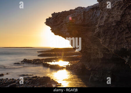 Africa, South Africa, Western Cape, Cape Town, coast at sunset - Stock Photo