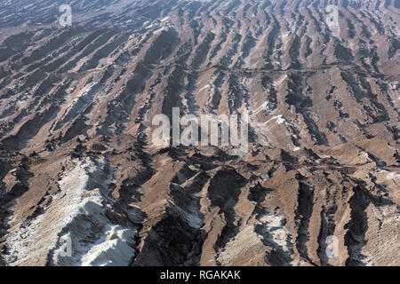 Aerial view over the Nochten opencast pit, lignite mine near Weißwasser / Weisswasser, Saxony, Eastern Germany - Stock Photo
