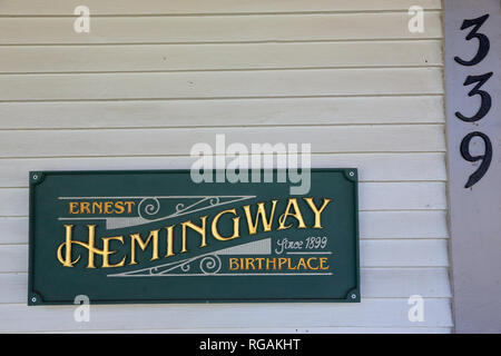 The sign and address Number by the entrance of Ernest Hemingway's birthplace at 339 N. Oak Park Avenue.Oak Park. West of Chicago. Illinois. USA - Stock Photo