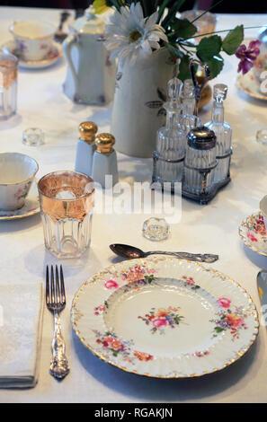 Dinning table details. Ernest Hemingway's birthplace. 339 N. Oak Park Avenue.Oak Park. West of Chicago. Illinois. USA - Stock Photo