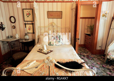 Interior view of the bedroom in Ernest Hemingway's birthplace at 339 N. Oak Park Avenue.Oak Park. West of Chicago. Illinois. USA - Stock Photo