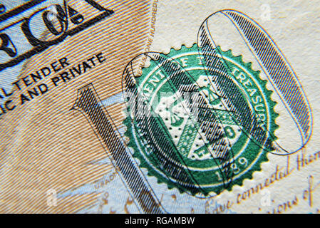 Dolar USA close up. Macro texture of a fragment of the dollar bill. USD banknote texture. One hundred American dollars macro. - Stock Photo