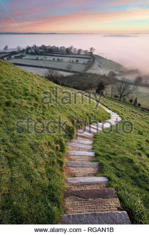 Winding path on top of Glastonbury Tor, Somerset, England - Stock Photo