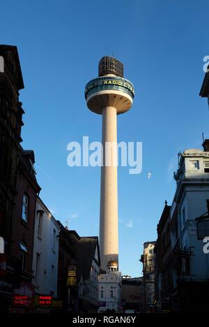 Radio City Tower (St John's Beacon) in Liverpool, England. The urban landmark is 138 metres (452 feet) tall, - Stock Photo