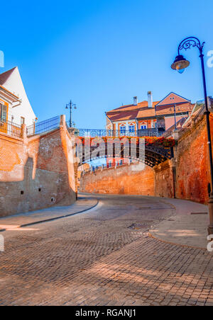 Sibiu, Romania: Liars Bridge in the Small Square - Stock Photo
