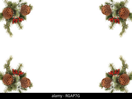 Card Christmas decoration with pine cone - Stock Photo