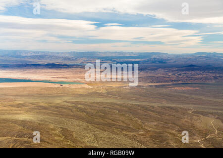 aerial view of grand canyon desert and lake mead - Stock Photo