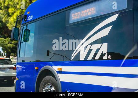 April 22, 2018 Sunnyvale / CA / USA - Close up of VTA (Santa Clara Valley Transport Authority) Bus driving on a street - Stock Photo